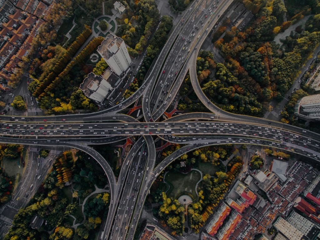 Ariel Traffic on Freeway